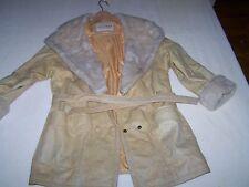 Beige coat ladies size M with fur lined hood by Wilsons