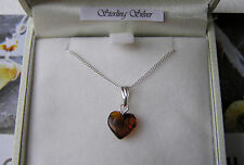 Baltic Amber Heart Necklace -Sterling Silver Chain. - NEW SMALLER HEART