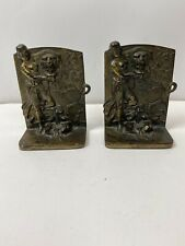 Vintage 1920's Metal Brass Art Nouveau Maiden Girl At Fountain Bookends #503