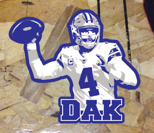 "DAK Dak Prescott Dallas Cowboys Fan Sticker Decal Bumper Car Window 4"""