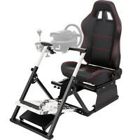 Simulator Cockpit Racing Chair W/ Steering Wheel Stand for Logitech G920 T500RS