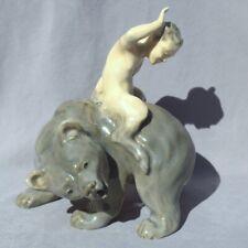Royal Copenhagen Figurine #976 Faun (Young Satyr) on Bear - Excellent!