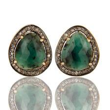 Emerald Pave Diamond 18K Solid Yellow Gold Gemstone Cufflink Jewelry