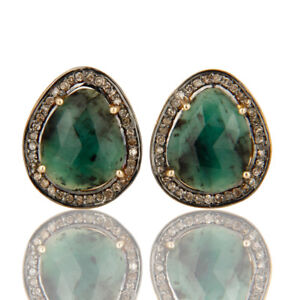 Emerald Gemstone Pave Diamond 18K Solid Yellow Gold Cufflink Jewelry