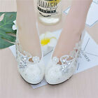 Handmade White LAUl Floral Pearl Lace Bridal Wedding Shoe High Heels Flat sz