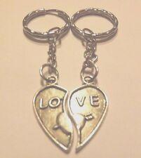lot de 2 porte-clés argentés coeur LOVE séparé en 2