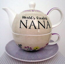 "BONE CHINA TEA FOR ONE ""WORLD'S GREATEST NANA"" SET LOVELY BIRTHDAY GIFT BNIB"