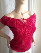 EXPRESS Pink Shirt paisley flower fuschia Small Peasant Top Sheer Mesh Misses