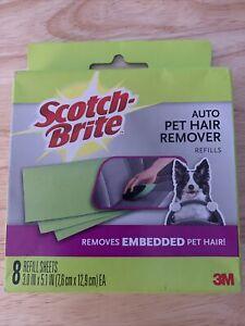 3M Scotch Brite Auto Pet Hair Remover Sheet New 8 Refill Sheets