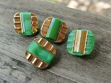 Vintage Old Nice German Green Opaque Moonglow Glass Buttons with Gold Trim
