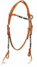 Western Light Brown Argentine Leather Headstall Bridle w Beaded Design 74065