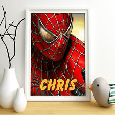 SPIDERMAN Personalised Poster A4 Print Wall Art Custom Name ✔ Spider-Man