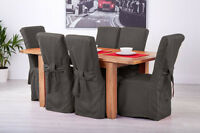 Set of 6 Slate Grey Fabric Dining Chair Covers for Scroll Top High Back Leather