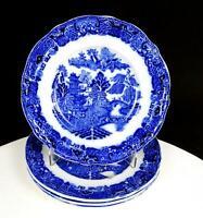 "KEELING & CO PORCELAIN FLOW BLUE BROSELEY PATTERN 4 PC 6 3/4"" SIDE PLATES 1880'S"