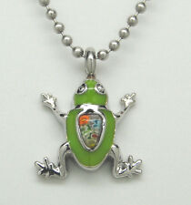 FROG CREMATION JEWELRY GREEN FROG URN NECKLACE MEMORIAL KEEPSAKE PENDANT URNS