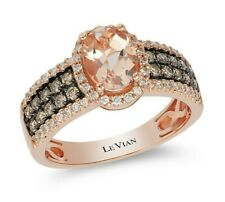 Le Vian 14K Rosa Oro Halo Anillo Morganita Chocolate Diamante Blanco Diamante Levian