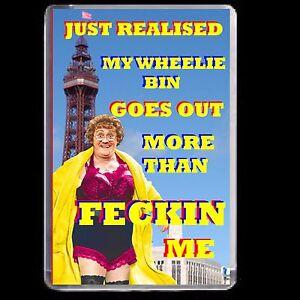 MRS BROWNS BOYS FRIDGE MAGNET ADULT JOKE ACRYLIC NOVELTY GIFT STAY SAFE DVD