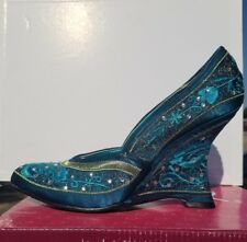 Qupid teal satin womens wedge heels New in Box size 9