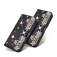 Flower Bling Diamond Jewelled Crystal Wallet Card Leather Flip Stand Phone Case