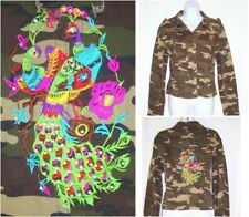 Embellished Camo Peacock Jacket L Bling Embroidered Juniors Rosy Loves