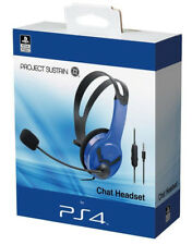 Official Licensed PS4 Wired Chat Headset Blue for Sony PlayStation 4 - NEW