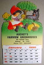 Red Riding Hood Girl Dog Aucheys Greenhouses Die Cut Retro Calendar Germany 2018