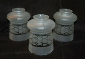 """Set of 3 Antique Bell Shaped Shades 2 1/4 """" fitters"""