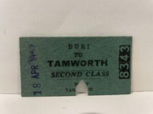 NSWGR Railway Second Class Ticket Duri to Tamworth 1957