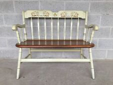 ETHAN ALLEN HITCHCOCK STYLE ARROW BACK IVORY DECONS BENCH (14-6182) (604)