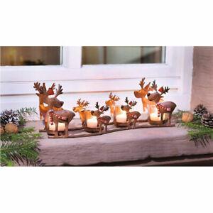 Windlicht Rentier 5tlg Deko Teelichthalter Beleuchtung Figur Tisch Weihnachten