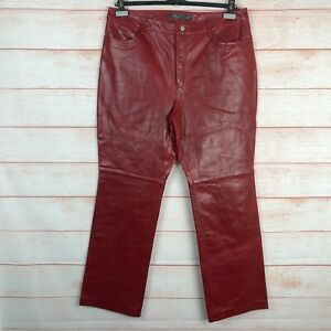 Gap Vintage Red Leather Bootcut Pants Sz 16 NEW NWT D078