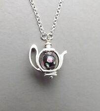 Cute teapot charm pendant necklace .. black pink glass flower bead silver tone