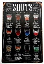 SHOTS (COCKTAIL) METAL TIN SIGNS vintage cafe pub bar garage decor retro kitchen