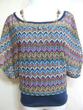 Womens Overlay Blouse S SMALL Blouson Knit Top Kimono Sleeve Multi Boat Neck