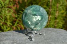 Marble Effect Green Fluorite Crystal Gemstone Sphere - 370g's (Ref:A)
