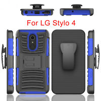 Shockproof Hybrid With Holster Belt Clip Stand Cover Case For LG Stylo 4