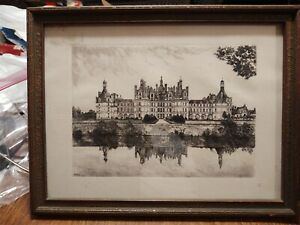 Etching  by Leopold Robin 1936 FRENCH CHATEAU  SIGNED