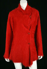 ISSEY MIYAKE Red Fuzzy Cashmere Asymmetric Button Cardigan Sweater 3 L
