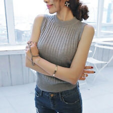 Korean Fashion Women Sleeveless Knit Vest Tank Top Ribbed Shirts Blouse Sweater