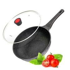 30cm Wok Marble Aluminium Deep Frying pan with Glass Lid Electric Induction Non