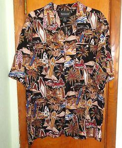 Vintage Cars Surf Boards - Hawaiian Men's Shirt - Medium - 100% Rayon