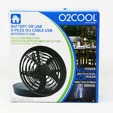 "O2COOL Fan 5"" Portable USB or Batteries Powered 2 Speed Table Fan, Black NEW"