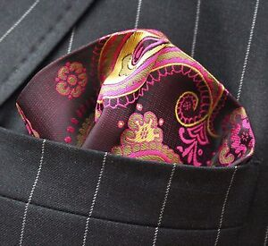 Hankie Pocket Square Handkerchief Pink & Yellow Paisley