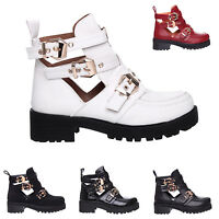 WOMENS LADIES CUT OUT GOLD BUCKLE CHUNKY SOLE MID HIGH HEEL SLIP ON BOOTS SHOES