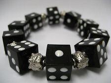 "Bunko Black Dice Acrylic  Stretch Bracelet New with Gift Bag 7.5"""