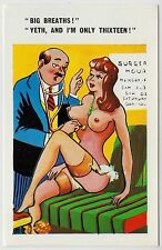 SAUCY POSTCARD - seaside comic, sexy woman boobs stockings doctor patient #C824