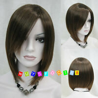 Fashion lady Short Straight Brown Cosplay party lady's wigs + free wig cap