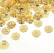 New Gold/Silver Plated Metal Flower Caps Bead For Diy Jewelry Making 100Pcs