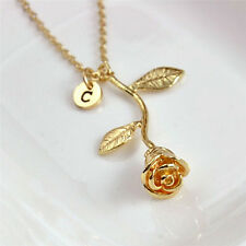 Charm Letter Rose Flower Pendant Necklace Gold Plated Women Necklace Jewelry E&F