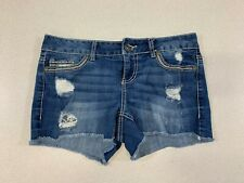 Maurices Women's Size 3/4 Stretch Distressed Low Rise Cut-Off Blue Jean Shorts